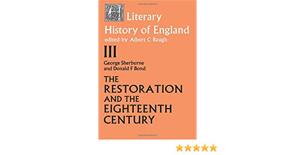 the literary history of engl and sherburn g bond donald f