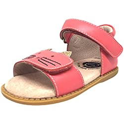 Livie & Luca Girl's Tabby Cat Coral Leather and Sparkle Hook and Loop Open Toe Sandal 8 M US Toddler