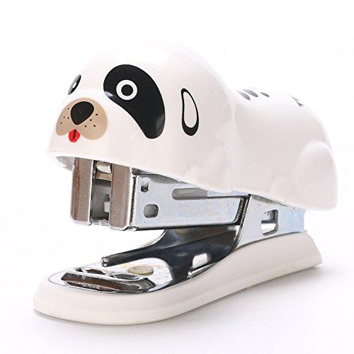 Summer House Mini Manual Desktop Stapler Set with Staples Pretty Cute Animal Pattern Office Staplers (White Dog)