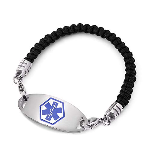 (BBX JEWELRY Medical ID Alert Bracelets with Blue Stainless Steel Med ID Tag for Women Men Free Engraving)