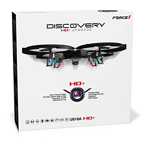 Force1 Remote Control Drone with Camera - U818A Discovery HD Camera Drone Long Range Flying Drones for Adults or Kids w/ LEDs, Micro SD, Extra Drone Battery