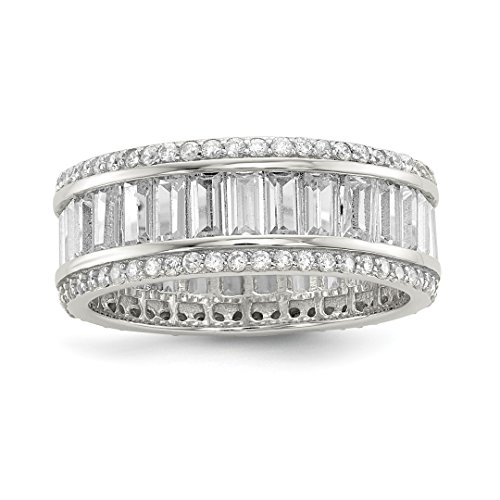 925 Sterling Silver Baguette Round Cubic Zirconia Cz Eternity Band Ring Size 8.00 Fine Jewelry For Women Gift ()