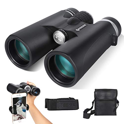 FREEDEER 10x42 Binoculars for Adults, Compact HD Low Night Vision Telescope, BAK4 Prism FMC Lens for Bird Watching Travel Stargazing Hunting Concerts Sports, with Smartphone Adapter Strap Carrying Bag by FREEDEER