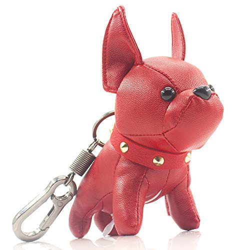 (French Bulldog Leather Keychain Bag Charm,SALTY FISH Car Key Chain Gift for Women Kids)