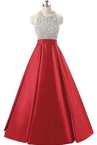 Linie Damen A Partykleid Abendkleid lang Ivydressing Satin Rueckenfrei aermellos Neckholder Rot modisch Ballkleid Schnuerung qaZw44xPdt
