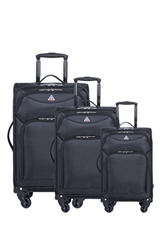 InUSA Luggage Light-Fi ultra-light spinner 3 Piece Set, 20''/24''/28'', Black by InUSA Luggage