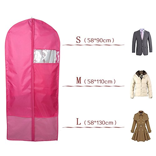 Breathable Garment Bags, Tune Up Garment Bag Clear Window Reinforced Opening and Zipper Premium Suit Bag Works for Dresses Linens Storage or Travel (Large Hot Pink) (Dress Garment Bag Pink compare prices)