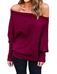 Wofupowga Women Off-Shoulder Dolman Sleeve Autumn Jumper Knitted Sexy Sweater
