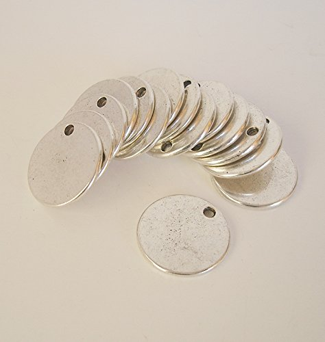 BeadsTreasure 15 Pcs- Antiqued Silver Plated Flat Round Disk Stamping Blanks Tag Charms for Jewelry Making.
