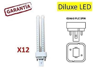 DiluxeLED - Pack x12 Lámpara Downlight LED G24 11 watios(equivalente a 110 watios), 1250Lumen Luz Cálida: Amazon.es: Bricolaje y herramientas