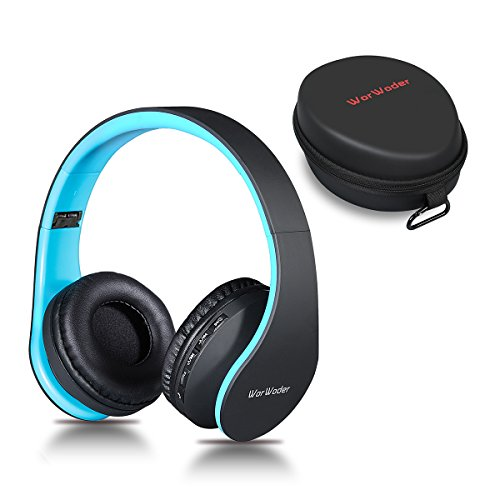 Bluetooth Headphones Over Ear, WorWoder Hi-Fi Stereo Wireless Headset, Foldable & Soft Memory-Protein Earmuffs, Built-in Mic for Cell Phones/TV/PC and Travelling (Black-Blue)