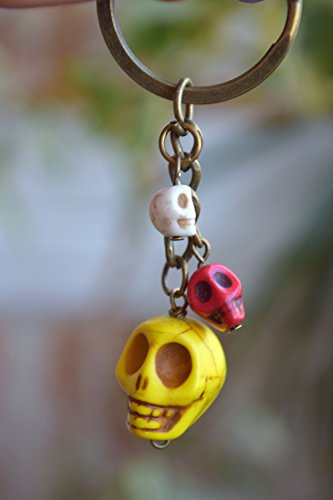 [Skull Keychain Day Of The Dead Keyring vintage key chain Halloween Charm Keychain Gemstone beads gothic gifts gift for him Goth Dia de Muertos Sugar Skull mexican holiday biker gift gift for] (Costume Ideas For Day Of The Dead)