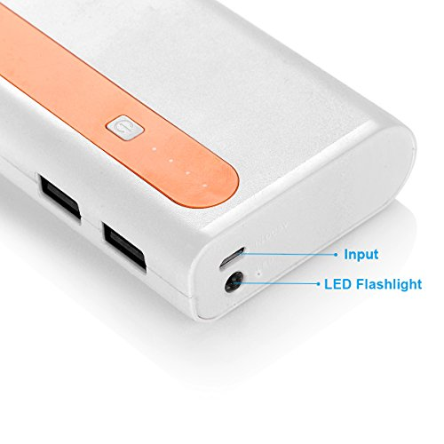 Aibocn power Bank 10000mAh External Battery Charger two times USB mobile or portable Charger using Flashlight shiny Singal Orange mobile or portable power Banks