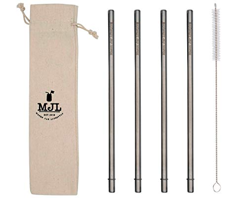 Long Safer Rounded End Stainless Steel Metal Straws for Large Cups, Tall Glasses, or Quart Mason Jars (4 Pack + Cleaning Brush + -