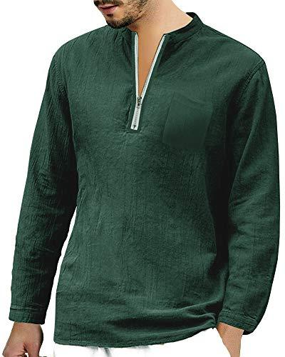 Mens Long Sleeve Henley Shirt Cotton Linen Beach Yoga Loose Fit Henleys Tops (XX-Large, Green2)