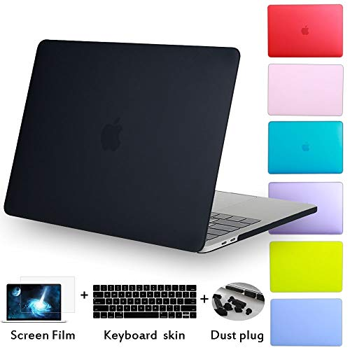 shoppingmal Rubberized Matte Shell Case for MacBook Air Pro 13 15 Inch Case with Silicone Keyboard Cover Dust Plug for MacBook case(MacBook Pro (15-inch,Dark Purple)