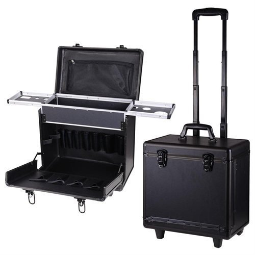 AMPERSAND SHOPS Rolling Pro Hair Stylist Travel Case with Hair Tools Holder (BLACK) by AMPERSAND SHOP