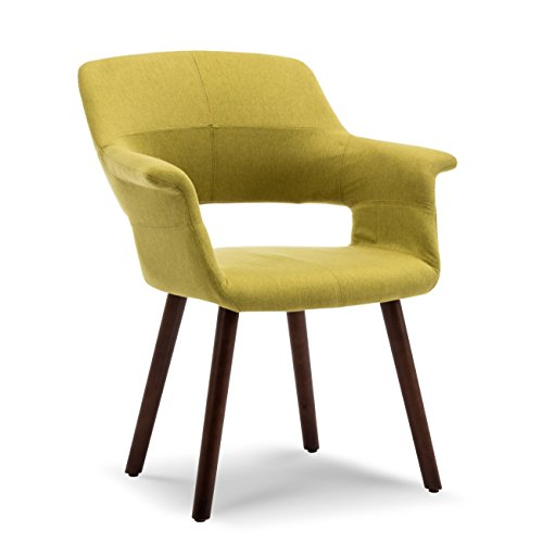 (Belleze Dining Chair Accent Mid-Century Style Linen Upholstered Armrest Padded with Wooden Legs, Green)