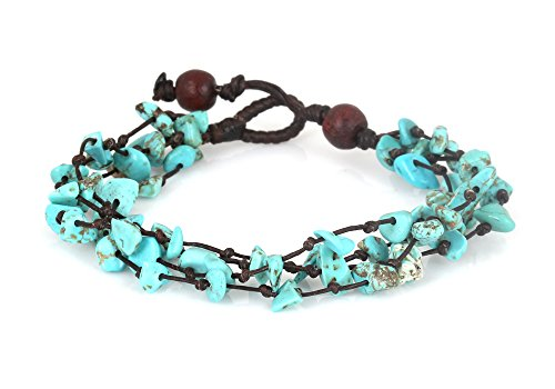 MGD, Light Blue Turquoise Color Bead Bracelet, 4-Strand. Beautiful 19 Centimeters in Length Handmade Stone Wrap Bracelet Made from Wax Cord. Fashion Jewelry for Women, Teens and Girls, JB-0077 Beautiful Turquoise Bracelet