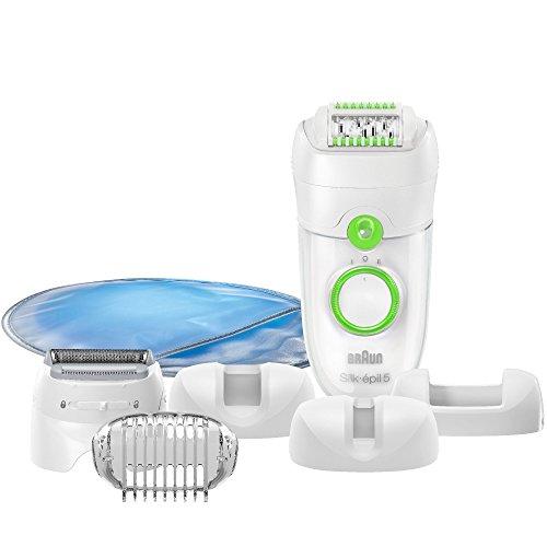 Braun Silk-épil 5 Power 5780 Epilierer (Epilator mit Gesichtsreinigungsbürste, Epiliergerät) weiß/grün