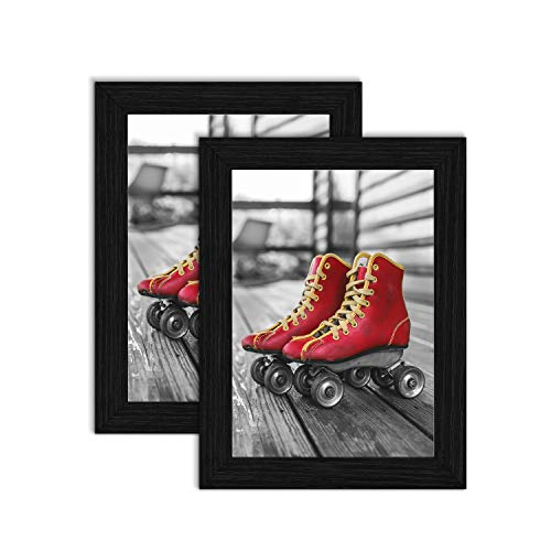 ElegartGallery 5x7 Picture Frames Black Picture Frame Set Wall Art Made to Display Solid Wood Photo Frames 5x7 for Living Room and Office Tabletop Wall Decor 2-Pack ()