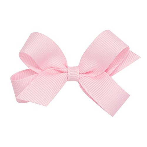 Tiny Grosgrain Hair Bow on a WeeStay Clip w/Plain Wrap - Light Pink (Tiny Infant Light)