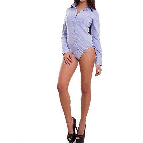 Camicia 7105 Sottogiacca Colletto Donna Body Toocool Blu Chiaro Maglia Maniche G Lunghe Nuovo ESqvxZnx