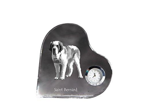 Saint Bernard, heart shaped crystal clock with an image of a ()