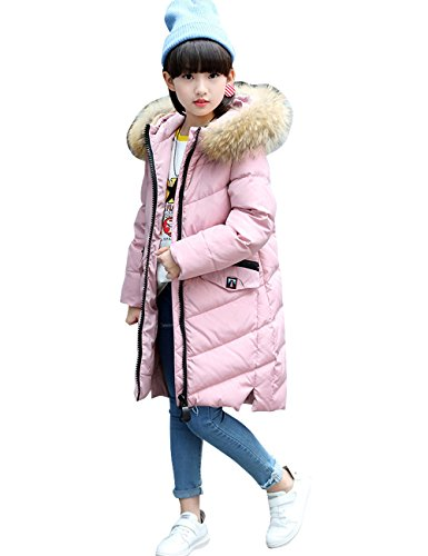 Menschwear Girl's Down Fur Hooded Jacket Winter Warm Outwear Winter Coat (150,Pink) by Menschwear
