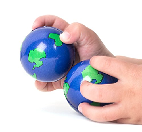 Bulk Lot of 2 Dozen World Stress Balls Earth Stress Relief Toys Therapeutic Educational Balls 24 Globe Squeeze 2
