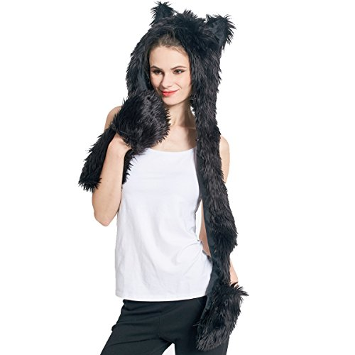 Panther Hat Animal Faux Fur Hoodie Furry Hood Scarf Gloves Mittens Burning Man Headwear Rave Clothes Festival (Black Panther) - Hat Black Bear