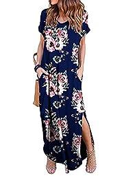6cd2dfc3647 ZIOOER Women Printed Casual Loose Pocket Split Long Dress Short Sleeve Maxi  Dresses