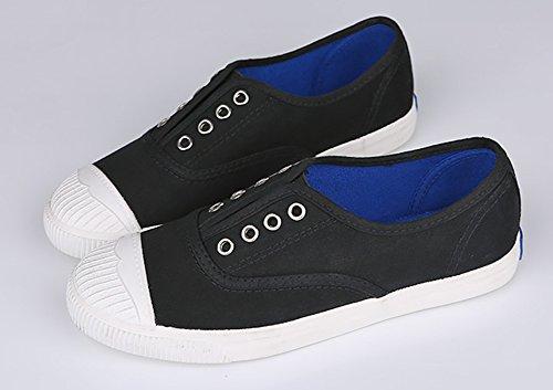 Aisun Womens Casual Comfort Punta Rotonda Slip Slip On Flat Canvas Sneakers Shoes Nero