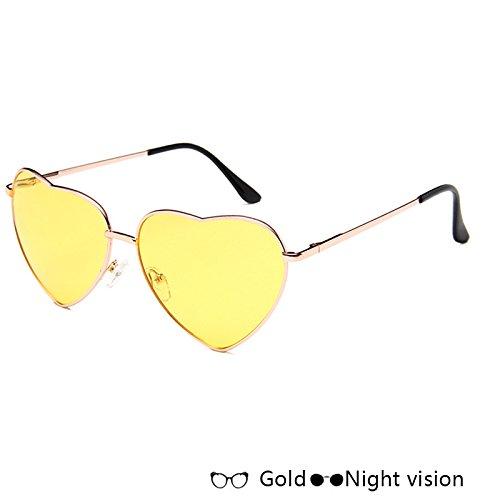 Rosa De De TIANLIANG04 De Lujo De Forma W Gafas Gafas Sol De Corazón Sol W vision Oro Gold Night Atrás En Azul Moda Mujer T0Xxq5wX