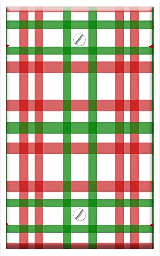 Single-Gang Blank Wall Plate Cover - Christmas Gingham Pattern Red Green Bow Holly