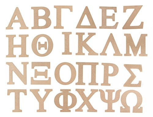 Wooden Greek Letter - 24-Pack Unfinished Wood Greek Alphabet, Paintable Greek Font for DIY, Home, College, Sorority, Fraternity Decoration, 6 inches - Letter Beta Greek