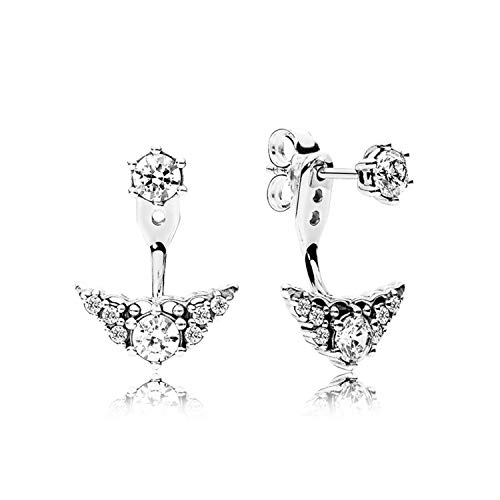 New Trends 100% 925 Sterling Silver 1:1 296228CZ FAIRYTALE TIARA EARRING STUDS Ear Studs Vintage Original Wedding Jewelry
