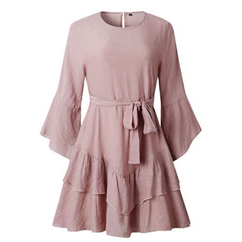 Women Dress, Ikevan Women Casual Ruffles Round Neck Dress Evening Party Dress with Belt (Size:XL, Pink)