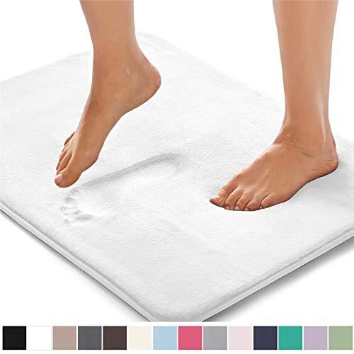 GORILLA GRIP Original Thick Memory Foam Bath Rug, 24x17, Cushioned, Soft Floor Mats, Absorbent Premiums Bathroom Mat Rugs, Machine Washable, Luxury Plush Comfortable Carpet for Bath Room, White