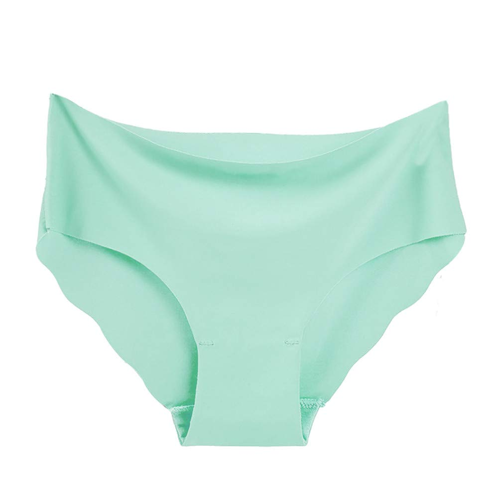 Qiujold Sexy Underwear for Women, Seamless Ice Silk Breathable Middle Waist Panties (XL, Mint Green)
