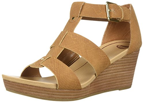 Dr. Scholl's Shoes Women's Barton Wedge Sandal, Saddle Snake Print, 6 M US