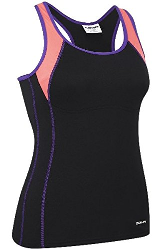 Bohn Swimwear Jansie Tankini Swim Top Black/Coral/Purple (US 10)