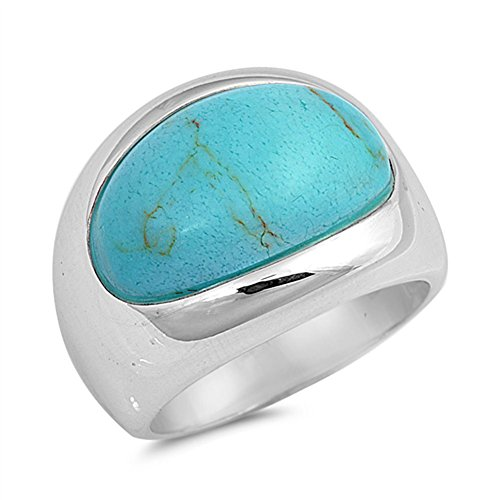 - Simulated Turquoise Fashion Long Oval Ring New .925 Sterling Silver Band Size 9