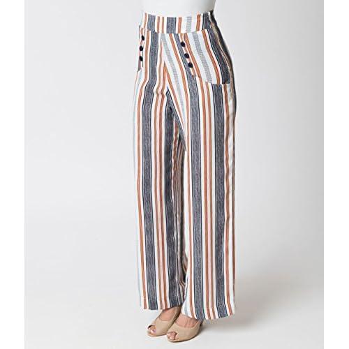 652ce76cebfff Unique Vintage 1940s Style White   Striped High Waist Sailor Ginger Pants  hot sale