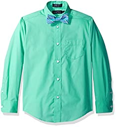 Nautica Big Boys\' Long Sleeve Solid Shirt with Bow Tie, Florida Green, 10