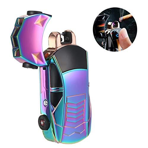 HAMKAW Touch Sensor Sports Car Arc Lighter, Cool Electric Plasma Cigarette Lighter with Flashlight & Battery Status, Flameless USB Rechargeable Torch Cigar Lighter for Men Gift Set