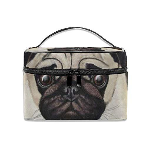 (Makeup Bag Merry Christmas Pug Dog Animal Cosmetic Bag Portable Large Toiletry Bag for Women Travel)