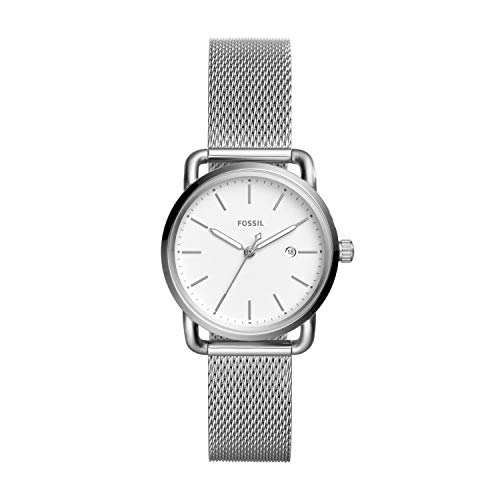 Fossil Women's The Commuter Quartz Stainless Steel Mesh Casual Watch, Color Silver-Tone (Model: ES4331)