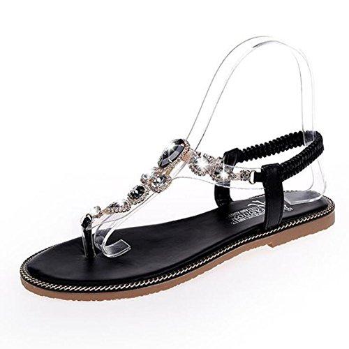 de Roma imitación GAOLIXIA Sandalias Zapatos salvajes PU Negro de de Black verano diamantes Verde Zapatos planas de Sandalias de mujer q8Zw0