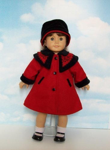 Red Wool Coat and Coordinating Black Velvet Hat. Fits 18